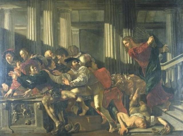 Cecco del Caravaggio Expulsión de los mercaderes del templo 1610 Staatliche museen Berlin